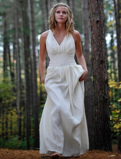The GORGEOUS Athena dress is made of hemp and silk and the back straps crest over your shoulder and crisscross.