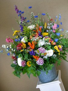 Creative Muse Floral bucket of wildflowers 