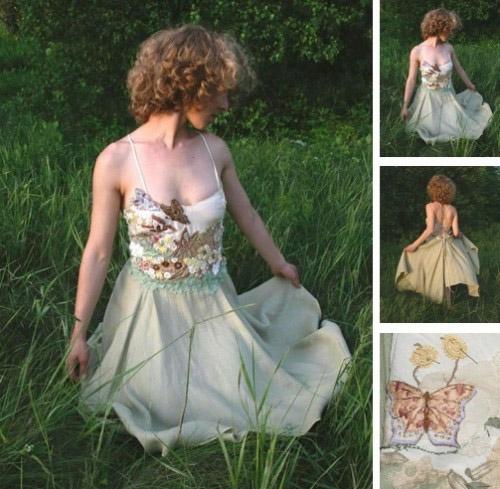 Farfalla custom wedding dress, eco friendly green hemp silk skirt