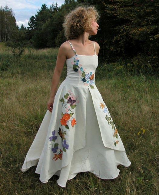 Floral Wedding Dress with Butterflies