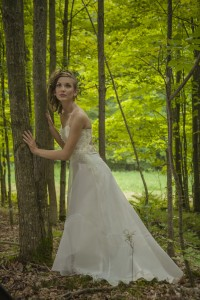 Ethereal wedding dress by Tara Lynn Bridal made of hemp, organic silk and wispy beaded flowers.