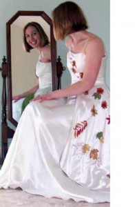 Custom wedding gown made of hemp silk