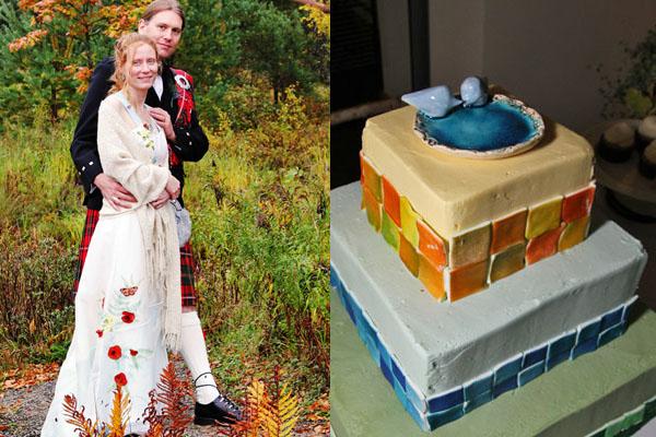 eco wedding Tara Lynn Hemp Silk wedding dress wearable art wedding cake