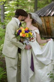 Caitlin and Rowan's Unique Embroidered Wedding Dress & Hemp Suit