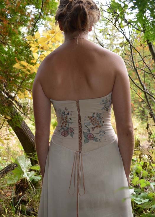 lace up embroidered woodland wedding dress