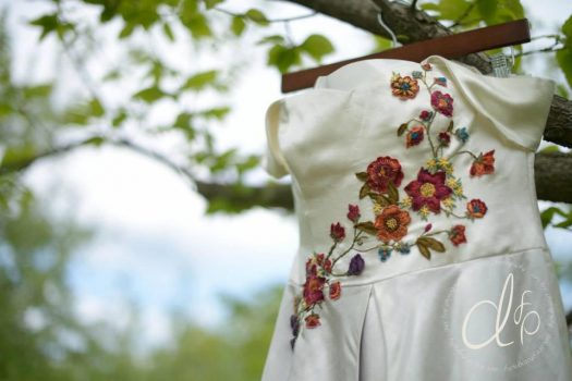 Floral wedding dress hand-embroidered