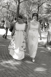 Leah and Laura's Custom Wedding Dresses | Boat Neck Wedding Dress | Beaded Wedding Dresses with Color | LGBT Wedding | Made in Vermont | Philadelphia, PA | Under $5000