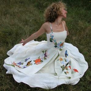 Elise's Custom Wedding Dress   Alternative Embroidered Wedding Dresses with Color   Organic Hemp Dress   Made in Vermont   Northampton, MA