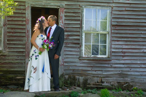 Sueno's Unique Wedding Dress | Embroidered with color | Eco-friendly Wedding Dresses | Hand Painted Hemp | NH Wedding | Made in Vermont Wedding Dresses under $5000