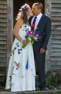 Sueno's Authentic Bohemian Wedding Dress with Dragonfly Appliques and Painted Trout