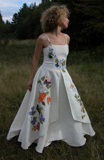 Fiorella is a Butterfly and Flower Embroidered Hemp Silk Wedding Dress