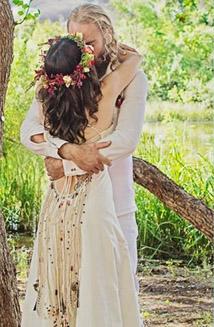 Michelle's Bohemian Lace Up  Eco-friendly Hemp Wedding Dress