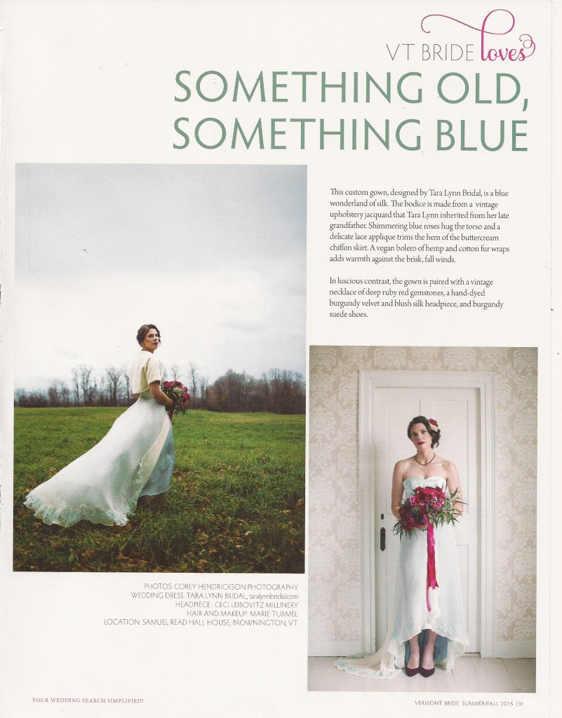 Vermont Bride Magazine, Tara Lynn Bridal, Blue Wedding Dress, Vermont Wedding