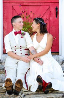 Jeanette and T's Goddess Wedding Dress, Bespoke Hemp Suit and Red Bowtie