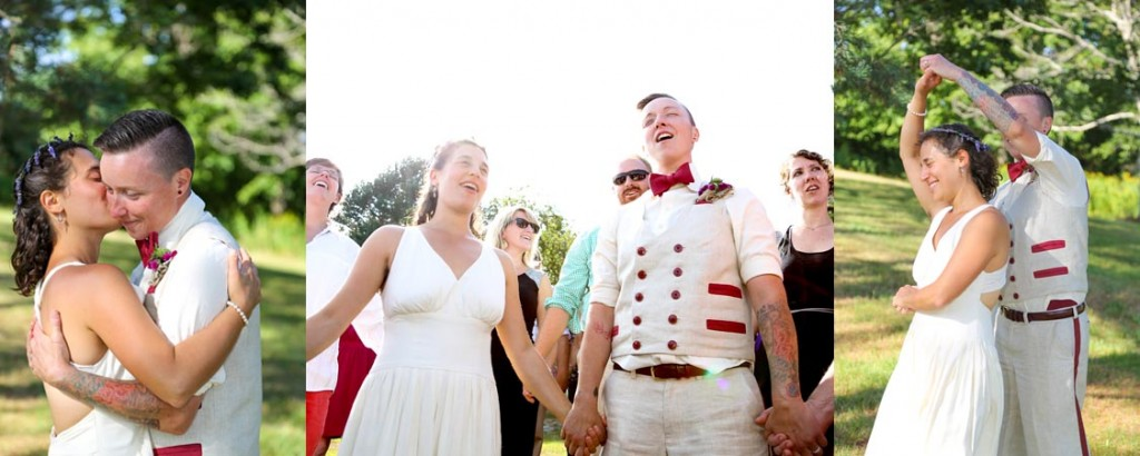 LGBT wedding Ceremony wedding attire by Tara Lynn Bridal