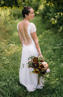 Hilary's Custom Wedding Dress incorporated recycled sentiments from a family Heirloom