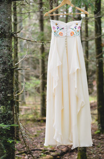 Kellees Custom Wedding Dress incorporated recycled sentiments from a tablecloth