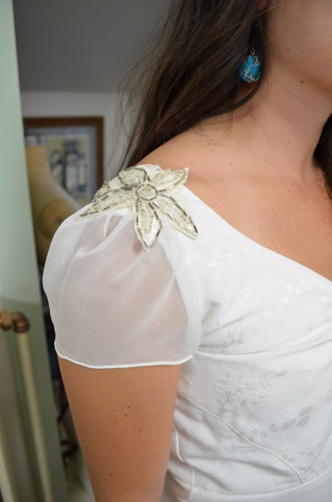 hemp silk wedding dress with vintage trims by Tara Lynn Bridal