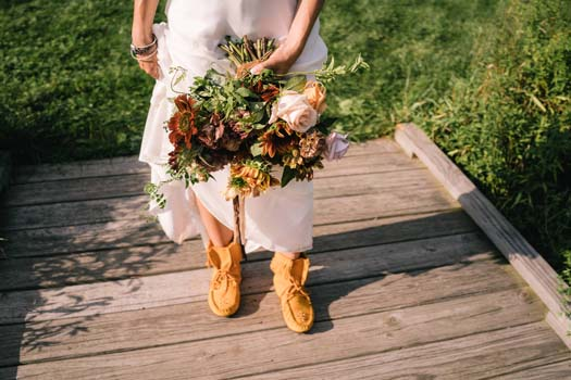 Bohemian wedding dress with moccasins