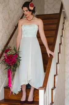 Celeste, A blue wedding dress made from Vintage Upholstery, $3,200