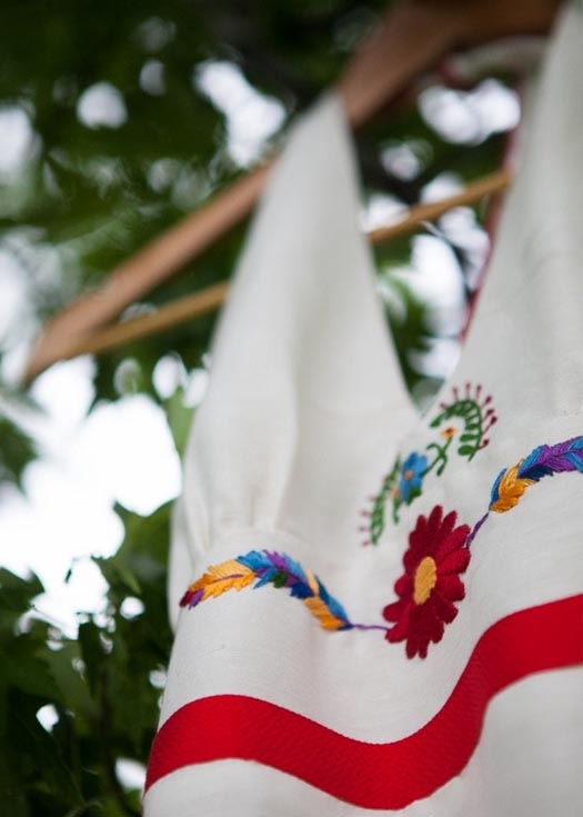 Mexican Embroidered Hemp Wedding Dress by Tara Lynn