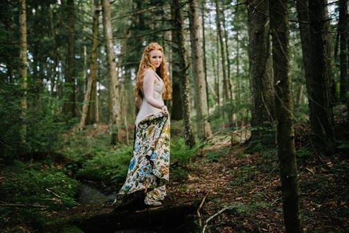 Woodland Floral Printed Wedding Dress by Tara Lynn Bridal