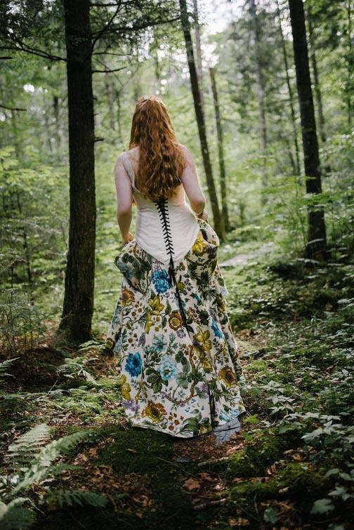 Lace Up Floral Printed Wedding Dress by Tara Lynn Bridal