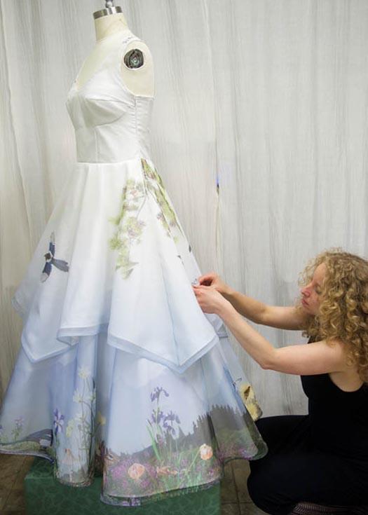 Custom printed wedding dress
